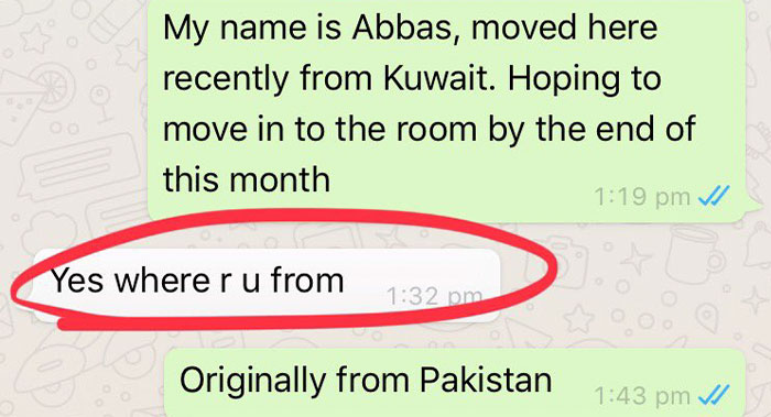Pakistani Man Shares Screenshots Of How A Landlord Turned Him After Finding Out Where He's From, Other Users Share Similar Experiences