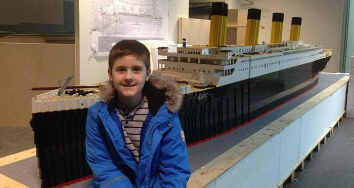 Boy With Autism Builds The World's Largest Titanic Replica From 56k Lego Bricks