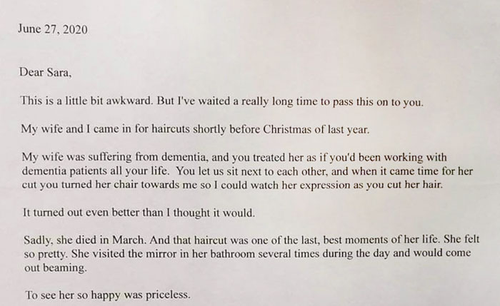 After His Wife With Dementia Dies, Husband Writes a Letter to Hairdresser Saying Her Last Haircut Was The Last Best Thing That Happened In Her Life