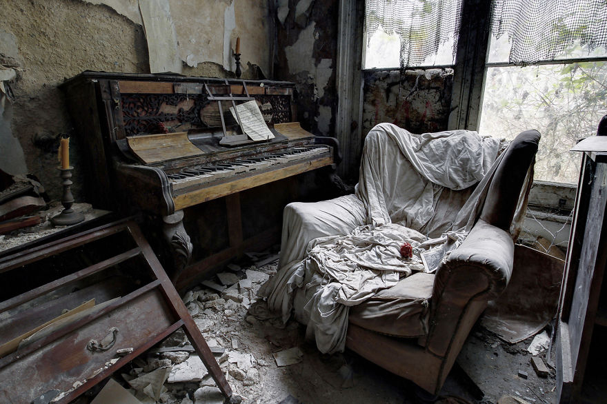 Derelict Music Room In An Old Abandoned House, United Kingdom