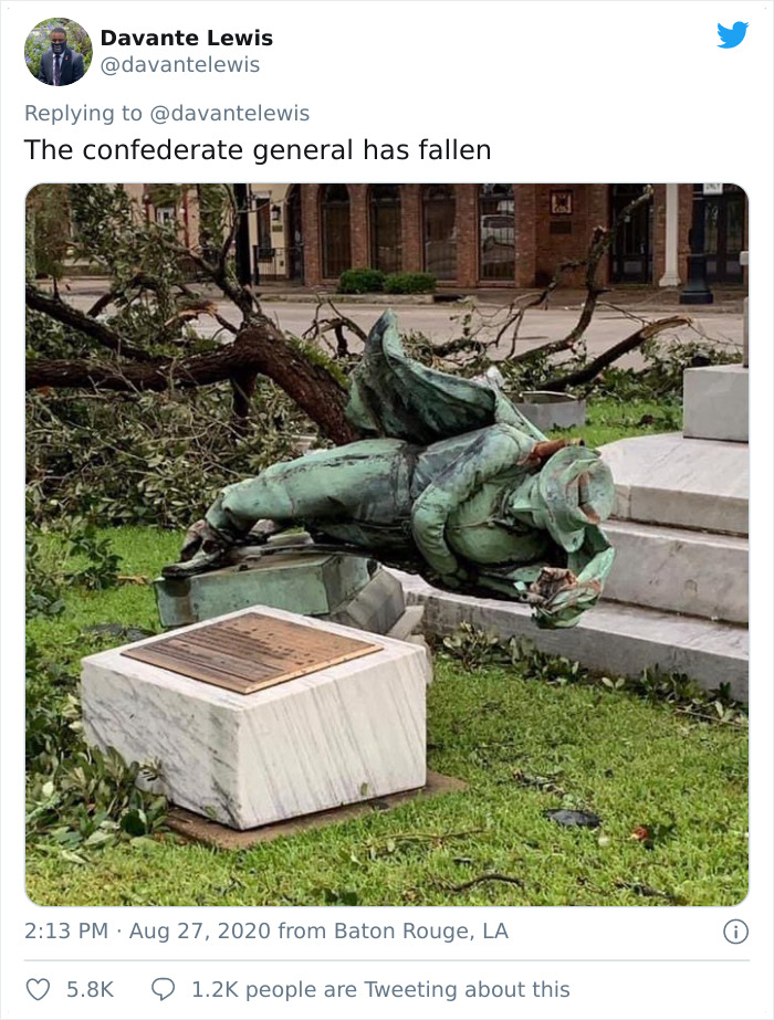 People Have Been Protesting This Confederate Statue For Months, Hurricane Laura Brought It Down In Seconds