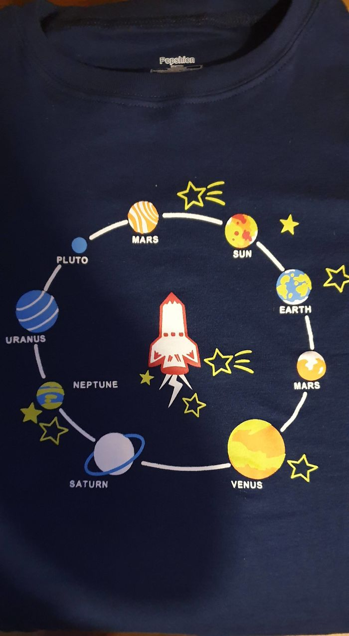 My Nephew's New T-Shirt With A Newly Designed Solar System