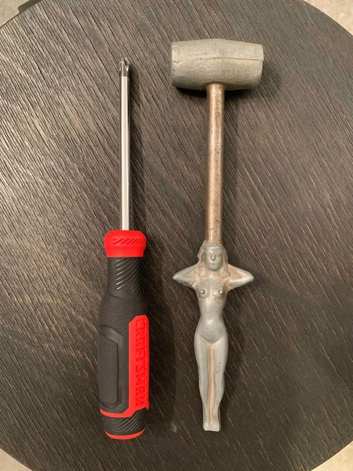 My Great Grandpa, An Iowa Native And Ww2 Veteran, Passed Away And Left Behind This Tool Or Decorative Piece. It Is Solid Metal, Has No Markings, And Weighs A Few Ounces. What Is This Thing ? Screwdriver Is For Scale