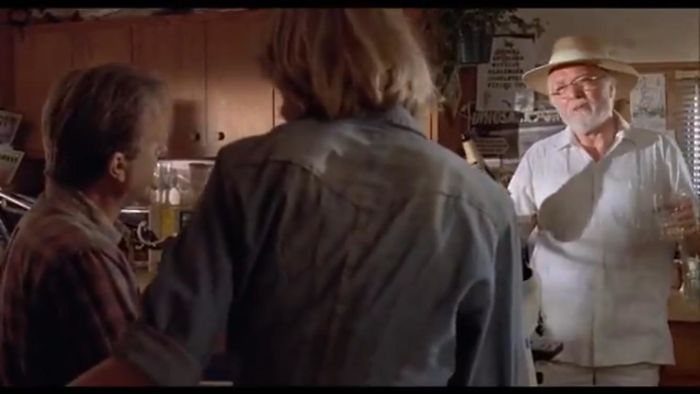 """Jurassic Park (1993) When Hammond Insists On Pouring The Champagne And Says """"I Know My Way Around The Kitchen"""" But Uses The Cheap Glasses, Instead Of The Champagne Glasses Are To The Left Of The Shot"""