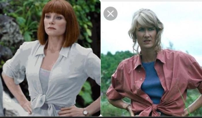 "In Jurassic World When Bryce Dallas Howard Rolls Up Her Sleeves And Ties Her Shirt At The Bottom To Say ""I'm Ready"", She's Wearing It The Same Way Laura Dern Did In Jurassic Park"