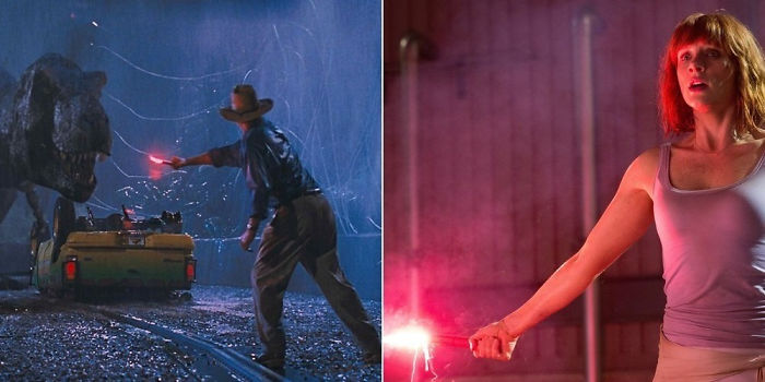 In Jurassic World, They Lure The Rex To The Fight With A Flare
