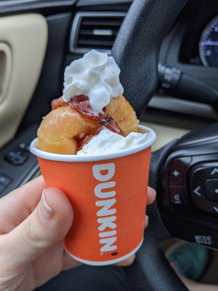 Asked If I Could Buy One Single Munchkin For My Dog's Birthday (Who Loves The Drive-Thru) And They Blessed Her With All This. Glazed Munchkins, Bacon, And Whipped Cream!