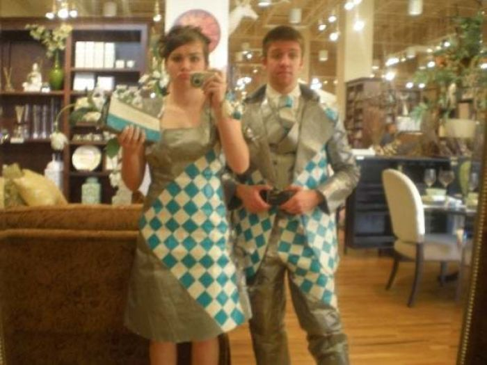 2008, Senior Friend Asked Me To Prom When I Was A Freshman. My Parents Didn't Want Me To Go But Also Didn't Want To Forbid Me, So They Didn't Give Me Money For A Dress Thinking That Would Stop Us. We Made Both Of Our Outfits Entirely Out Of Duct Tape For Like $30