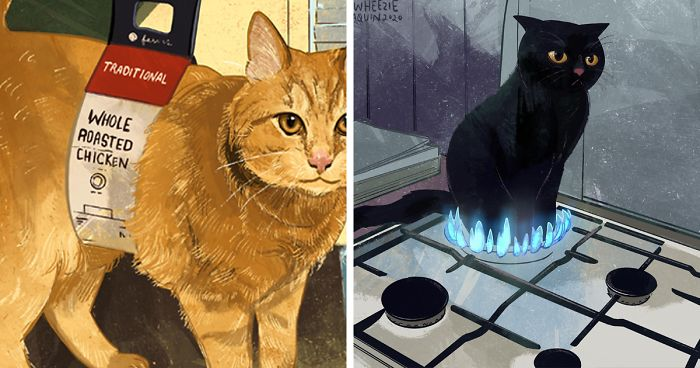 Artist Wants To Adopt A Cat So Bad, She Signs Up For A 100-Day Cat Meme Drawing Challenge