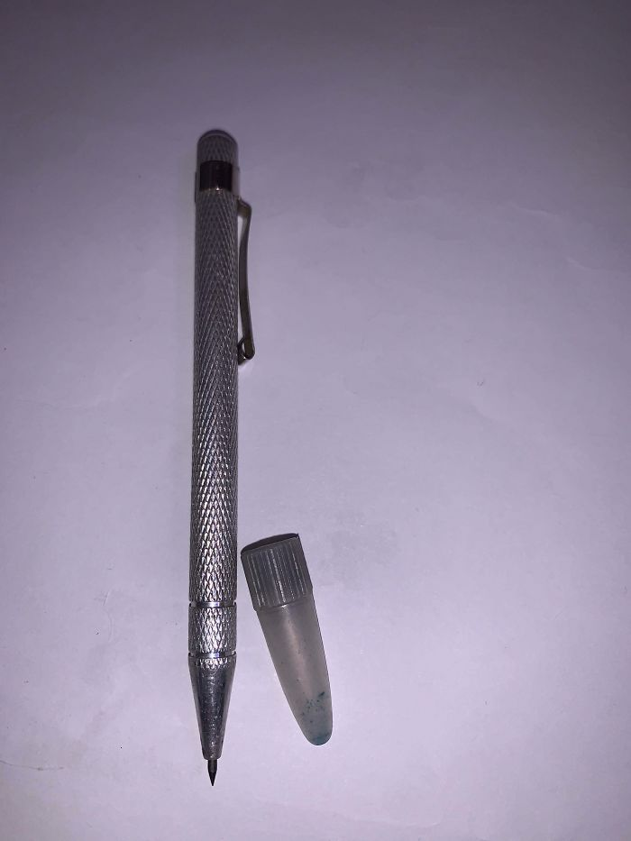 What Is This?? It Is Not A Pen, The Tip Is Sharp Metal And Doesn't Write. No Place For Ink Or Graphite Or Anything. All One Cohesive Piece With A Plastic Cap. What Is It For?