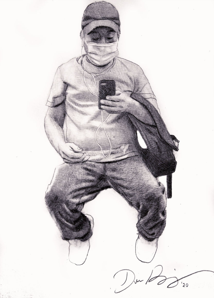New Yorker Draws Sketches Of Masked Strangers On The Subway Captures The Spirit Of The Times Bored Panda