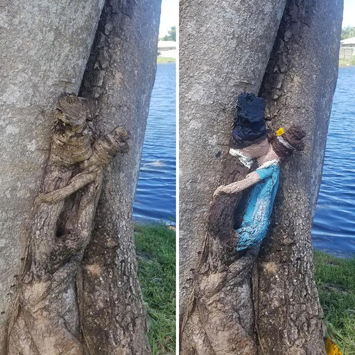 Tengo este nudo en el tronco de un árbol en mi patio trasero que siempre pensé que se parecía a una pareja de la época de la Regencia besándose. Hoy, decidí traerlos a la vida