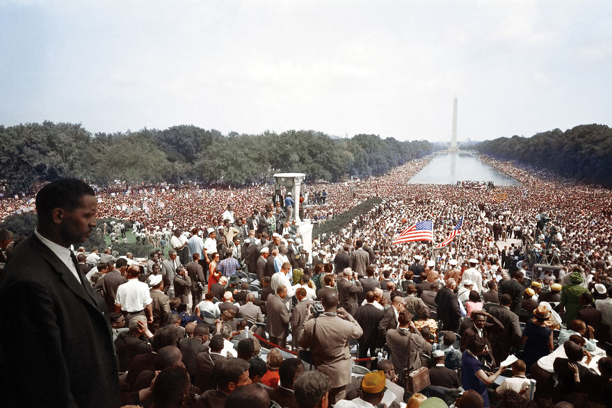 The View Of The Huge Crowd From The Lincoln Memorial To The Washington Monument During The March On Washington