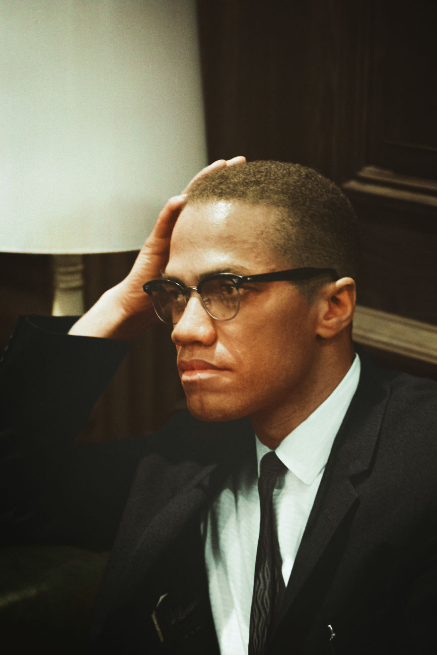 Malcolm X Waits At Martin Luther King Press Conference, Head-And-Shoulders Portrait