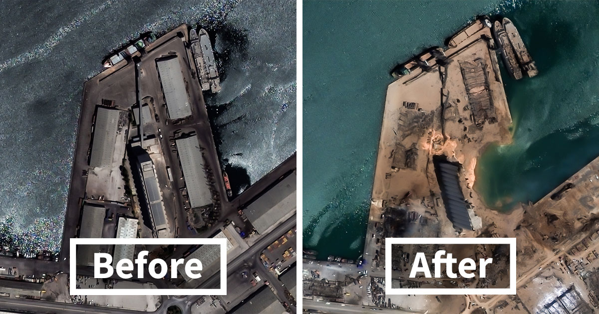 Before And After Satellite Photos Show The Damage In Beirut After The Massive Explosion