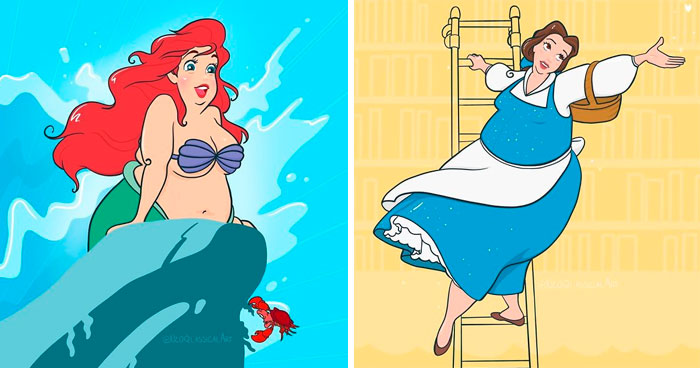 Artist Reimagines Disney Princesses As Being Plus-Size, Stirs Up A Heated Debate