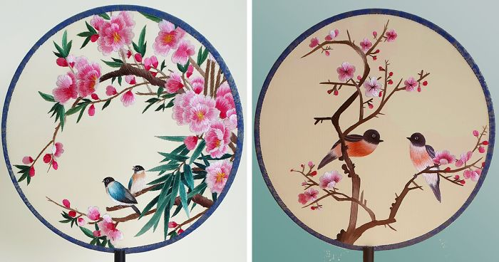 Chinese Embroidered Fan Art Magpies /& Cherry Blossoms Spring Traditional Oriental Silk
