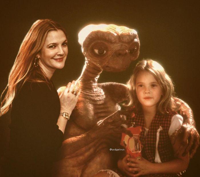 Drew Barrymore y Gertie (y E.T.)