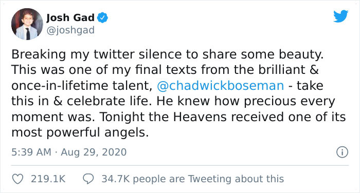 Josh Gad breaks his silence on Twitter