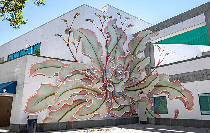 Artist Paints A Mesmerizing Flower Mural That Spreads Over 6 Surfaces