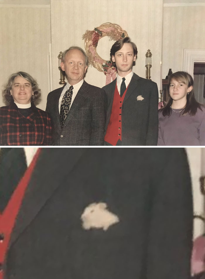 I Post This Old Christmas Photo Because I Just Noticed My Pocket Square Is My Sister's Hamster