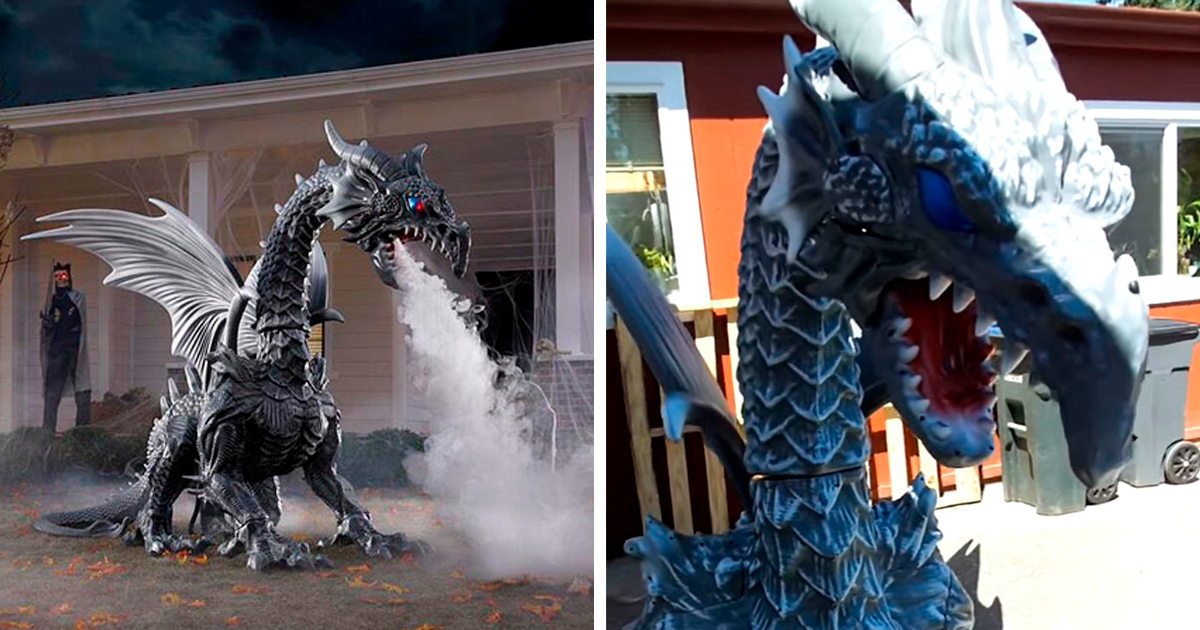 Dragon Halloween Decorations.Home Depot Announces Halloween Season With Their Smoke Breathing Yard Dragon And It Costs 399 Bored Panda