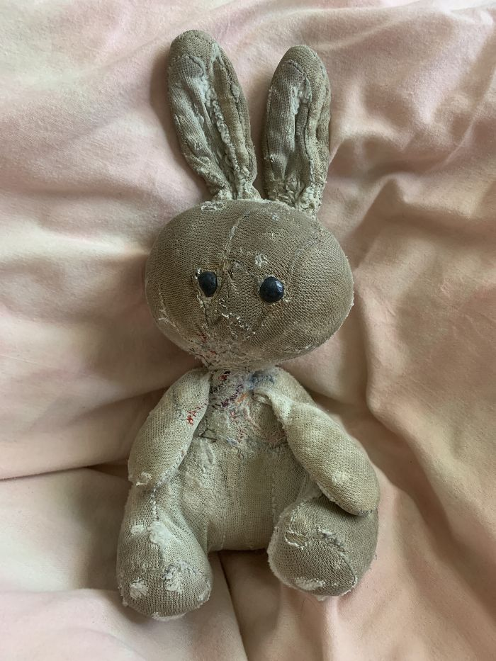 This Is Rabbit. She Was Given To Me The Day I Was Born By My Grandparents, Nanny And Pop. I've Have Catched Up With Her For 33 Years. When Rabbit Was Brand New, She Was Pink And Fluffy. Today She Is Threadbare And Has Plenty Of Stitches From Being So Well Loved!