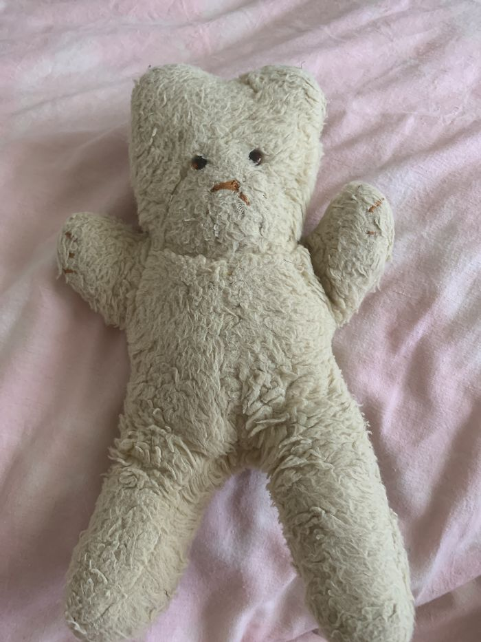 This Is My Husband's Teddy, Jess. It Was Made For Him By His Nanny, When He Was A Little Boy. Jess Shares The Bed With Rabbit (From The Post Above!)