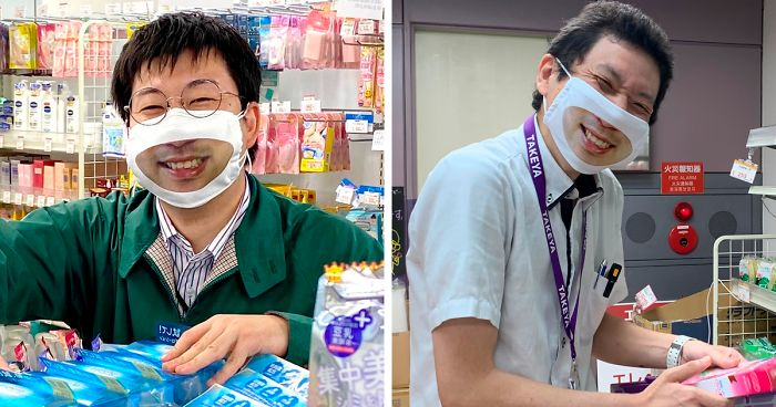 Japanese Shop Launches 'Smile Masks' To Make Customers Think That The Staff Is More Friendly   Bored Panda