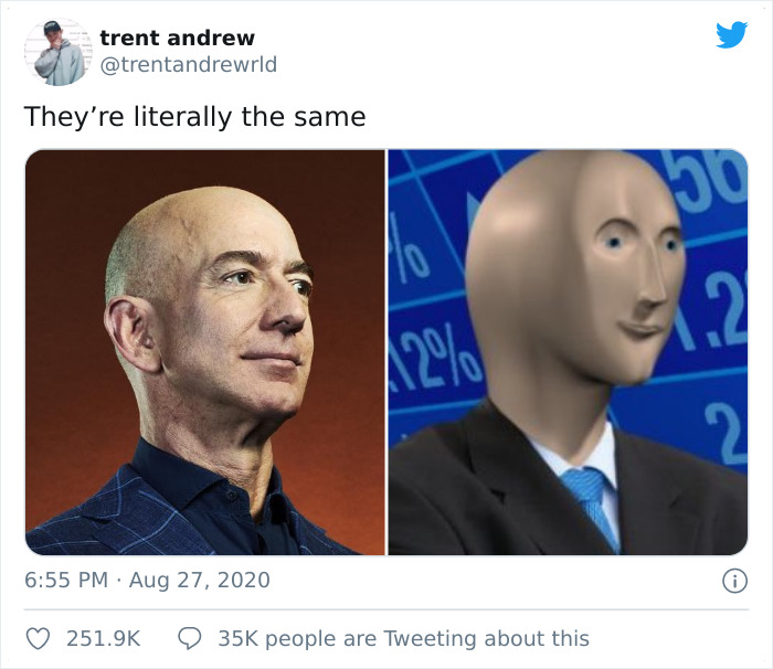 17 Memes That Emerged After People Discovered How Similar Jeff Bezos And  Stonks Man Look | Bored Panda