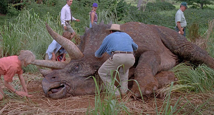 The Guests' Encounter With The Sick Triceratops Ends Without Any Clear Explanation As To Why The Animal Is Sick. Michael Crichton's Original Novel And The Screenplay, However, Includes An Explanation