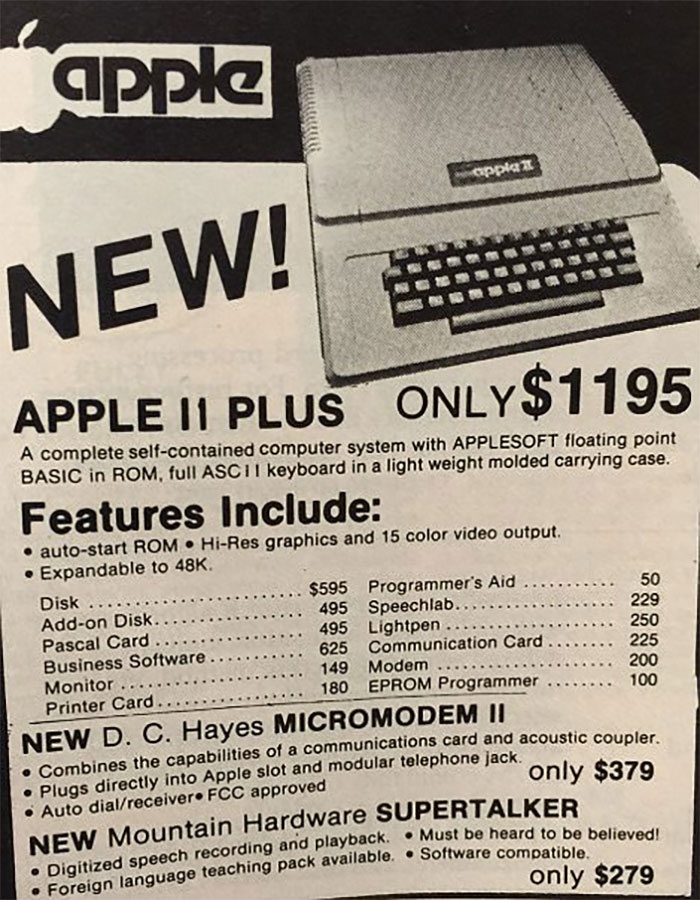 1977 The Apple Ll: $1195