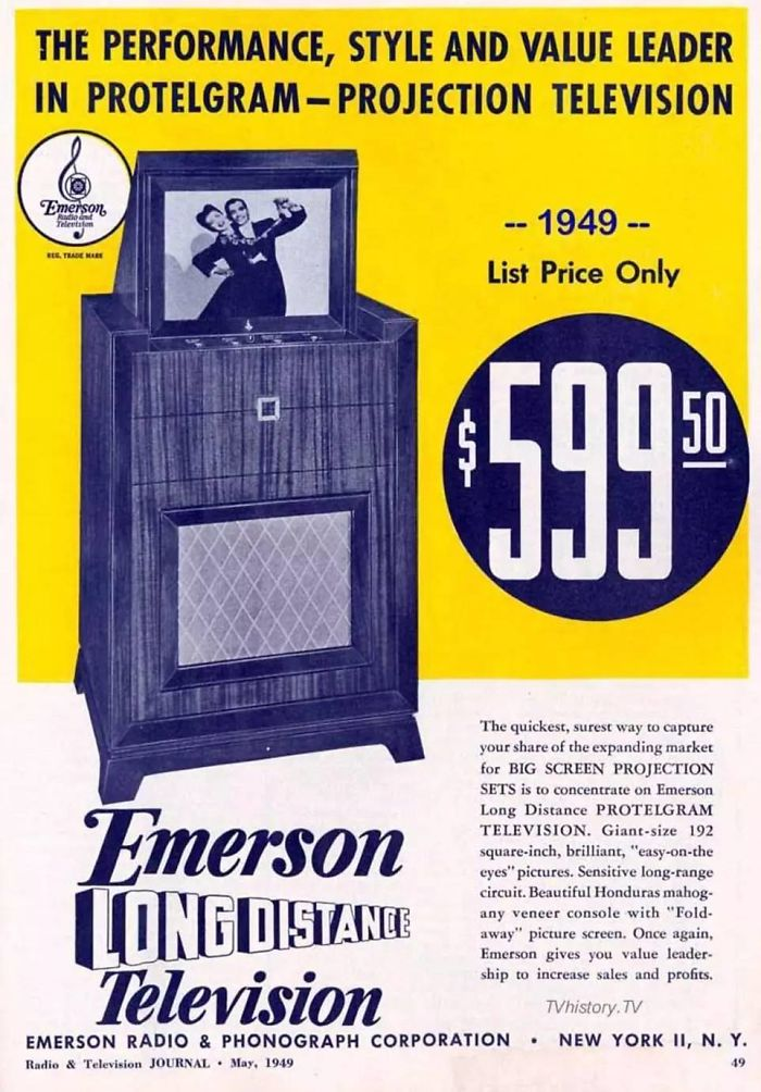 Emerson Radio Corporation Television Set - 1949: $599.50