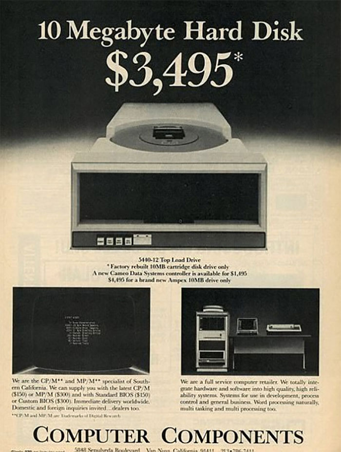10 Megabyte Hard Drive: $3,500