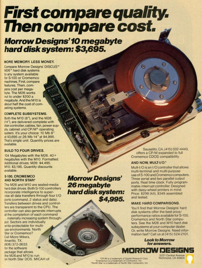 10 Megabyte Hard Disk System: $3,695