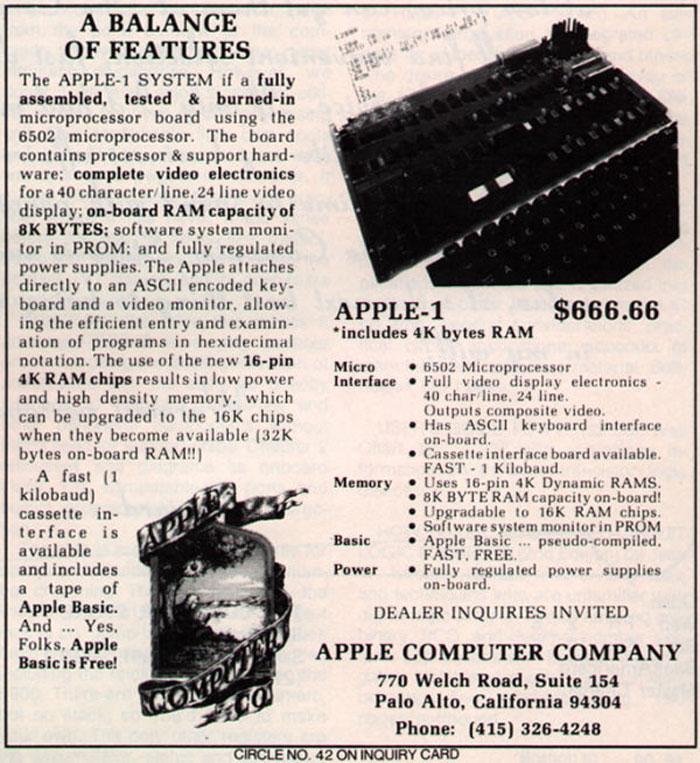 1976 Apple 1: $666.66