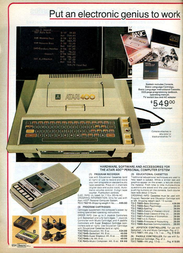 Atari 400 PC: $549.00