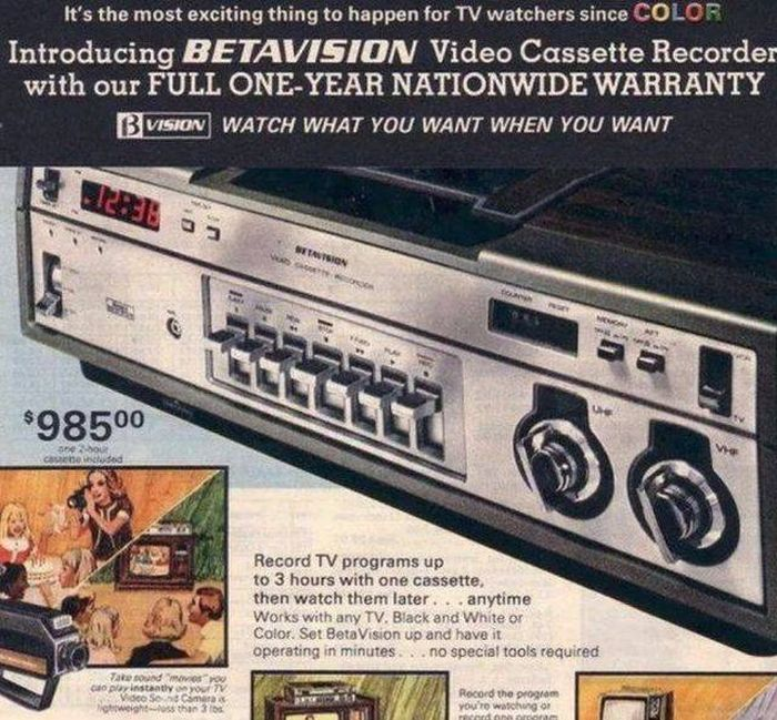 Betavision Video Cassette Recorder: $985.00