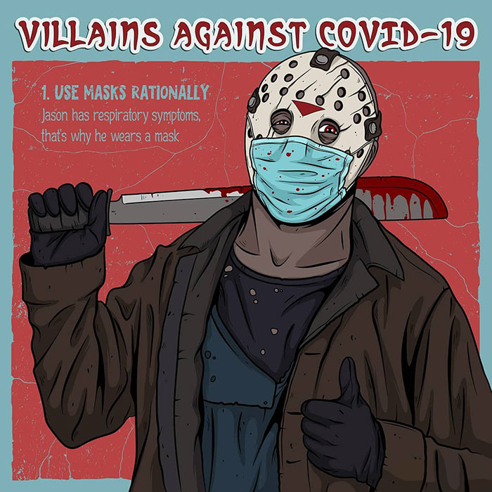 Artist Creates Humorous Illustrations Of Villains Giving Advice On The Fight Against COVID-19 (9 Pics)