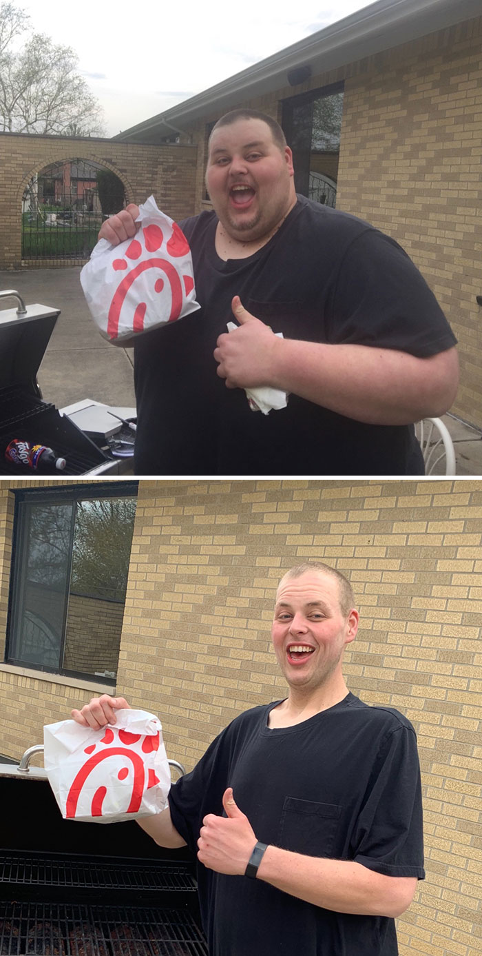 Before And After 2 Years 475 Pounds Lost. Enjoyed A Rare Trip To Chick Fil A