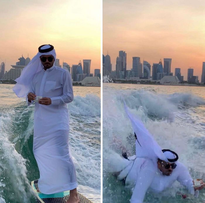 What Could Go Wrong If You Attempt A No-Hand Wakeboard In Your Robes While Drinking Tea