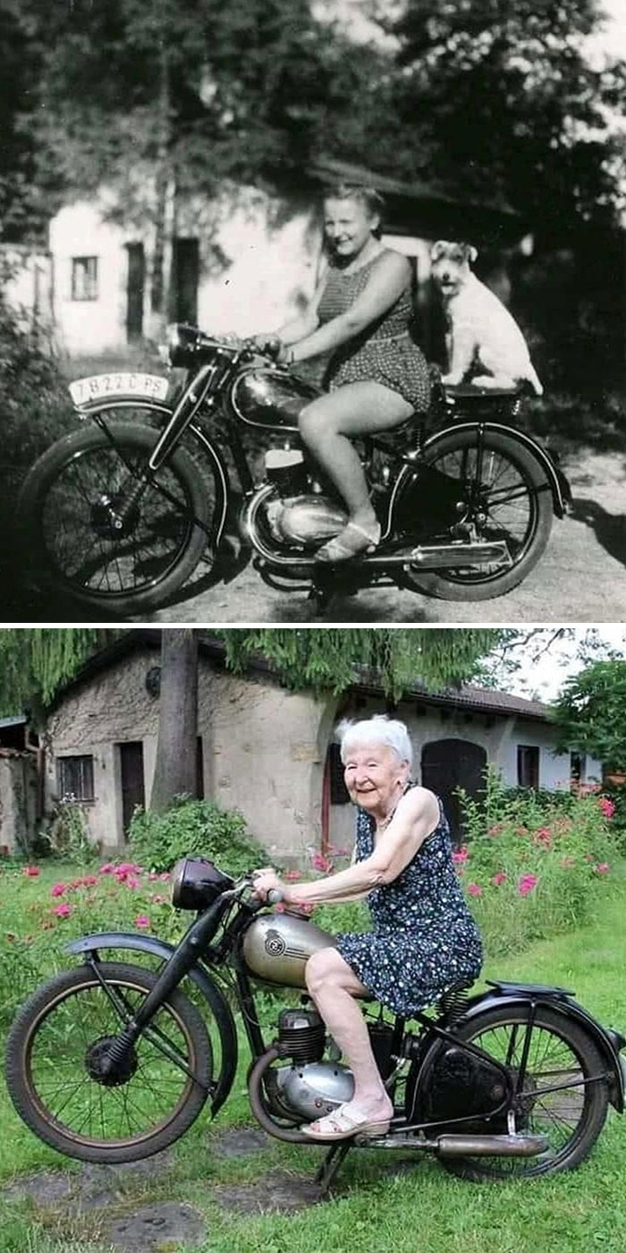 Same Bike, Same Place, Same Girl. 71 Years Difference