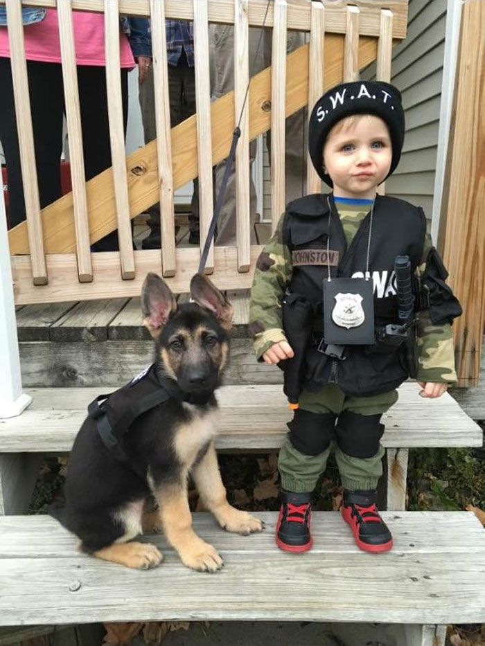 My (At The Time) 2 Year-Old Son With Our 8 Week Old German Shepherd Dressed As Swat Members