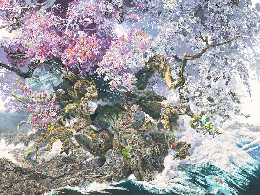 Japanese Artist Fits Entire Worlds Into His Drawings, And His Surreal Works Take Him Years (28 Pics)