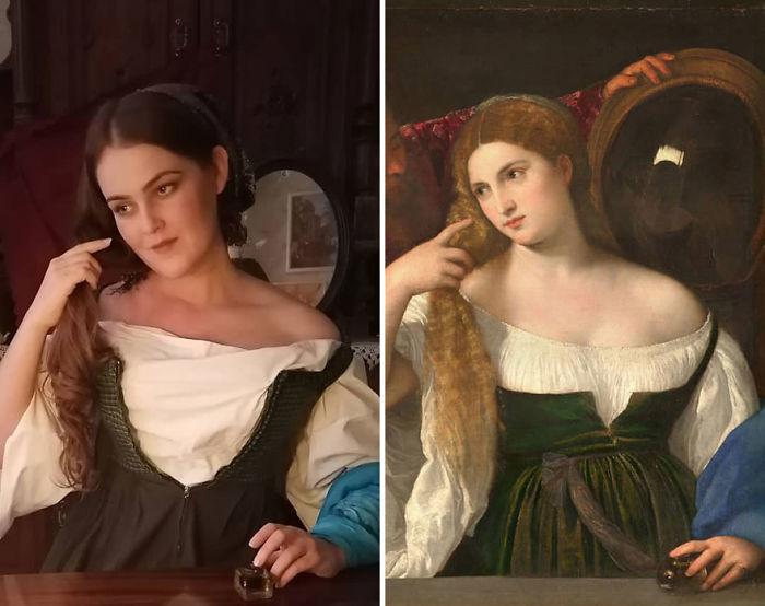 """Tiziano Vecelli """"Mujer Con Espejo"""" (~1515)"""