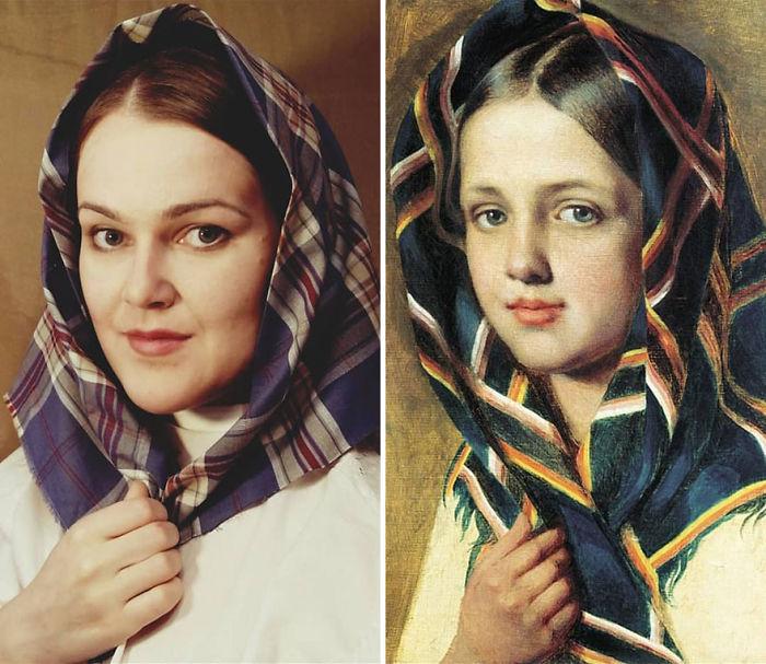 """Alexey Venetsianov """"Chica Con Pañuelo"""" (~1820)"""