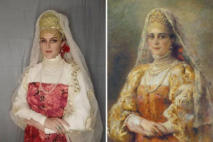 """Konstantin Makovsky """"Retrato De La Condesa Yusupova En Traje Ruso"""" (1900)"""
