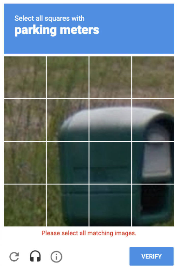 Recaptcha Really Has An Issue With Thinking Mailboxes Are Parking Meters. Also Can't Skip.