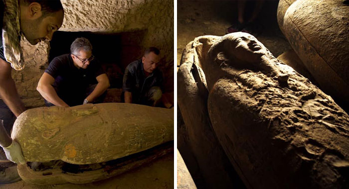 Archaeologists Unearth 13 Fully-Sealed Ancient Egyptian Coffins In Saqqara Necropolis Dating Back 2,500 Years