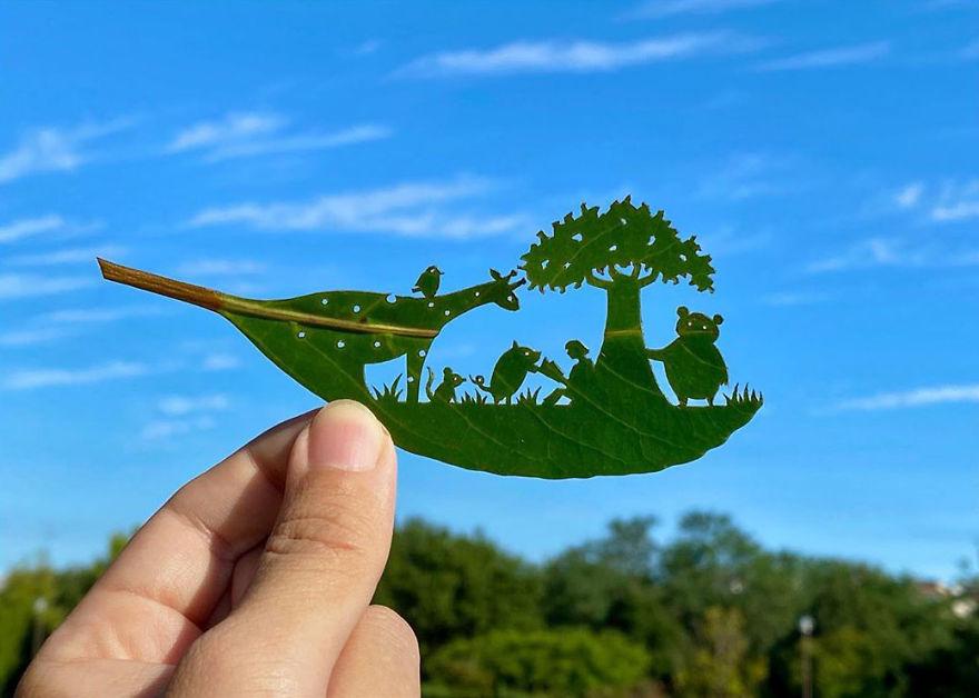 Bu Japon Sanatçı, Ağaç Yapraklarını Kullanarak Yaptığı İnanılmaz Eserleriyle Viral Oluyor (127 Fotoğraf)